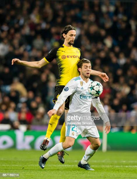 Neven Subotic of Borussia Dortmund in action during the UEFA Champions League match between Real Madrid and Borussia Dortmund at Estadio Santiago...