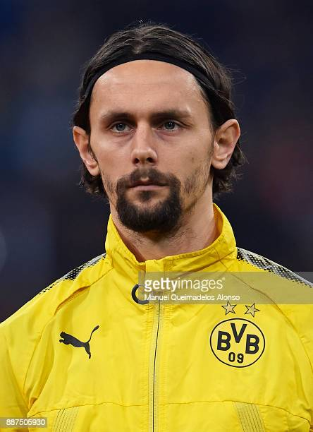 Neven Subotic of Borussia Dortmund looks on prior to the UEFA Champions League group H match between Real Madrid and Borussia Dortmund at Estadio...