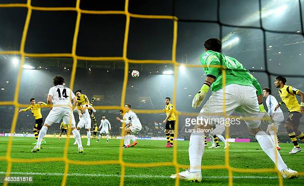 Neven Subotic of Borussia Dortmund scoes his teams first goal during the Bundesliga match between Borussia Dortmund and 1. FSV Mainz 05 at Signal...