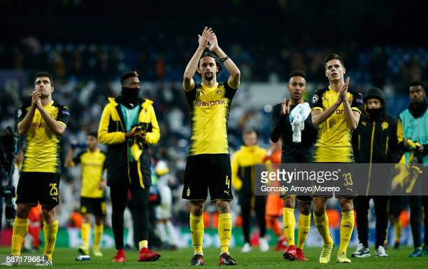 Neven Subotic of Borussia Dortmund shows appreciation to the fans after the UEFA Champions League group H match between Real Madrid and Borussia...