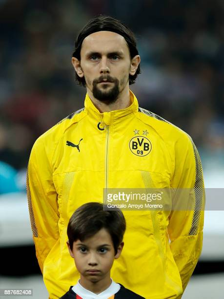 Neven Subotic of Borussia Dortmund stands prior to start the UEFA Champions League group H match between Real Madrid and Borussia Dortmund at Estadio...