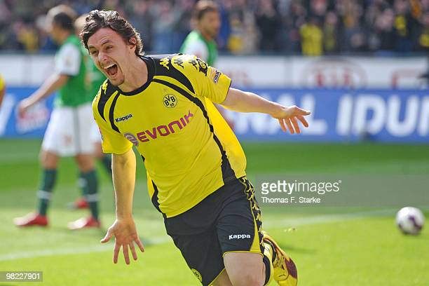 Neven Subotic of Dortmund celebrates his teams second goal during the Bundesliga match between Borussia Dortmund and SV Werder Bremen at Signal Iduna...