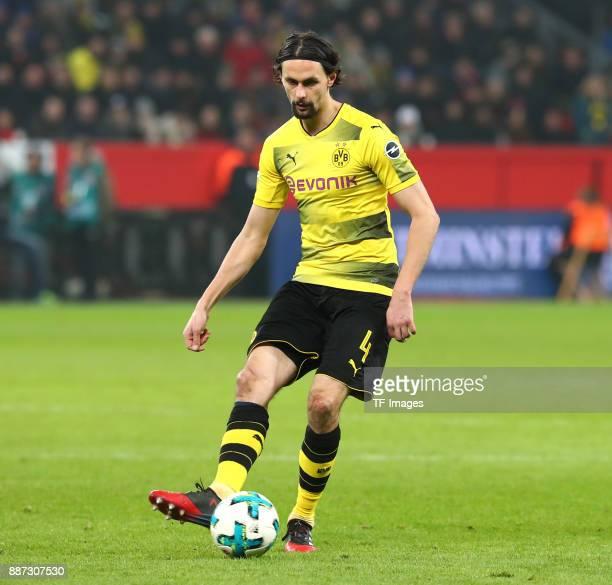 Neven Subotic of Dortmund controls the ball during the Bundesliga match between Bayer 04 Leverkusen and Borussia Dortmund at BayArena on December 2...