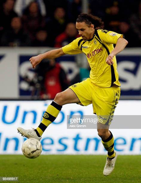 Neven Subotic of Dortmund controls the ball during the Bundesliga match between 1899 Hoffenheim and Borussia Dortmund at the Rhein-Neckar Arena on...
