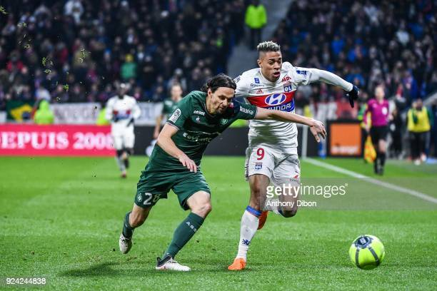 Neven Subotic of Saint Etienne and Mariano Diaz of Lyon during the Ligue 1 match between Olympique Lyonnais and AS SaintEtienne at Parc Olympique on...