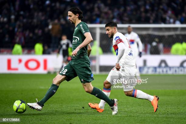 Neven Subotic of Saint Etienne and Nabil Fekir of Lyon during the Ligue 1 match between Olympique Lyonnais and AS SaintEtienne at Parc Olympique on...