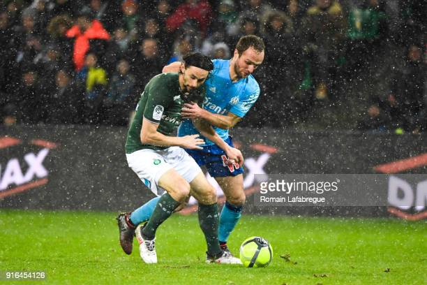 Neven Subotic of Saint Etienne and Valere Germain of Marseille during the Ligue 1 match between AS SaintEtienne and Olympique Marseille at Stade...