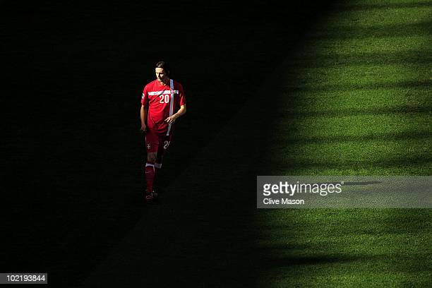 Neven Subotic of Serbia look on during the 2010 FIFA World Cup South Africa Group D match between Germany and Serbia at Nelson Mandela Bay Stadium on...