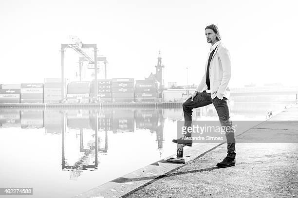 Neven Subotic poses during a photo session at the Dortmund port on October 03, 2014 in Dortmund, Germany.