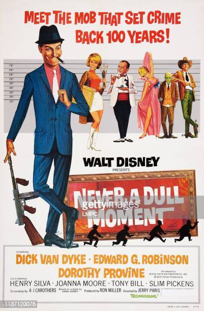 Never A Dull Moment poster US poster art from left Dick Van Dyke Dorothy Provine Edward G Robinson Joanna Moore Slim Pickens 1968