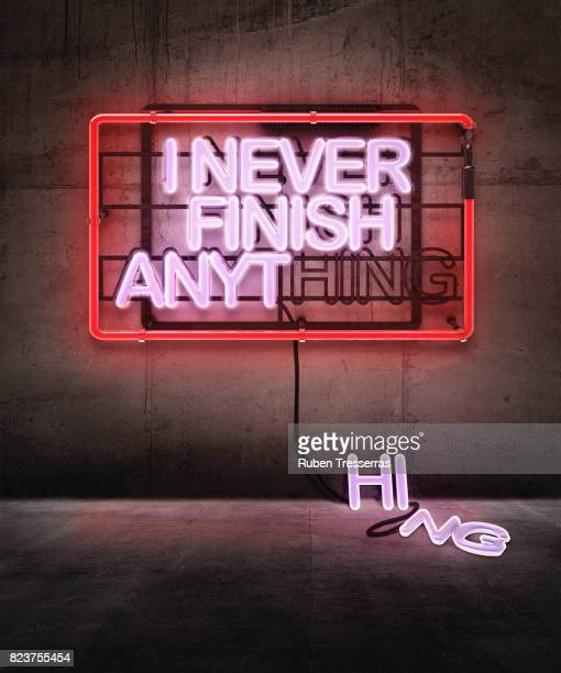 i never finish anything - neon letters stock photos and pictures