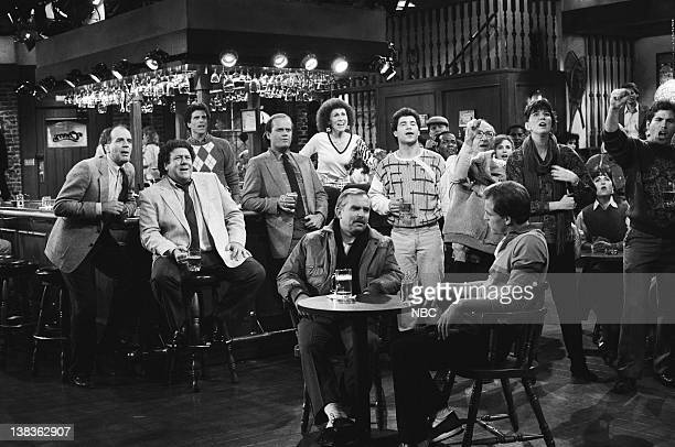 CHEERS 'Never Love a Goalie Part 1' Episode 16 Air Date Pictured back George Wendt as Norm Peterson Ted Danson as Sam Malone Kelsey Grammer as Dr...