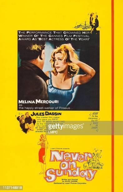 Never On Sunday, poster, US poster art, Melina Mercouri, 1960.