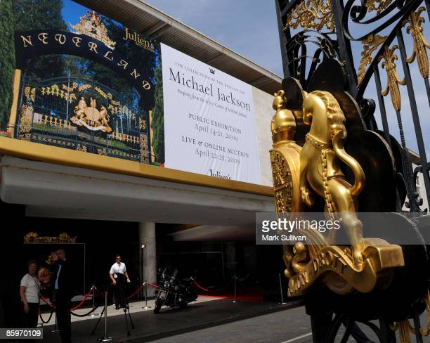 Neverland gate and entrance at the press preview for Michael Jackson's Julien's Auctions Exhibit on April 13, 2009 in Beverly Hills, California.