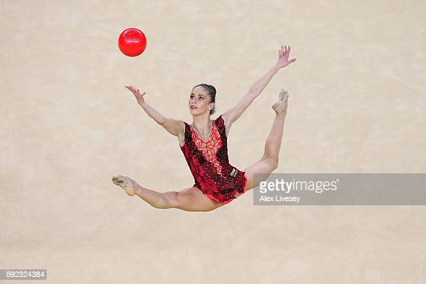Neviana Vladinova of Bulgaria competes during the Women's Individual All-Around Rhythmic Gymnastics Final on Day 15 of the Rio 2016 Olympic Games at...