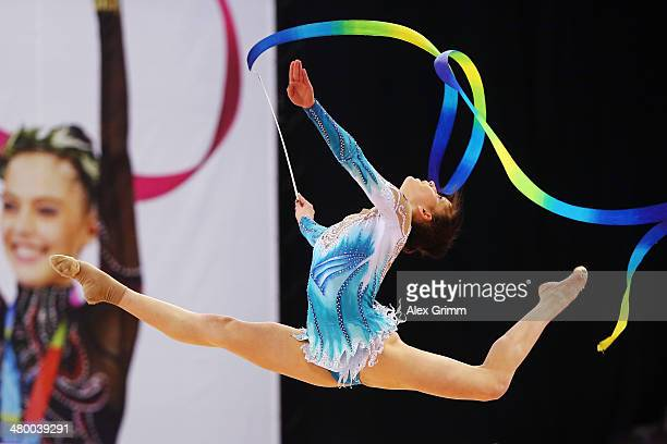Neviana Vladinova of Bulgaria performs with the ribbon during the individual competition of the GAZPROM World Cup Rhythmic Gymnastics at Porsche...