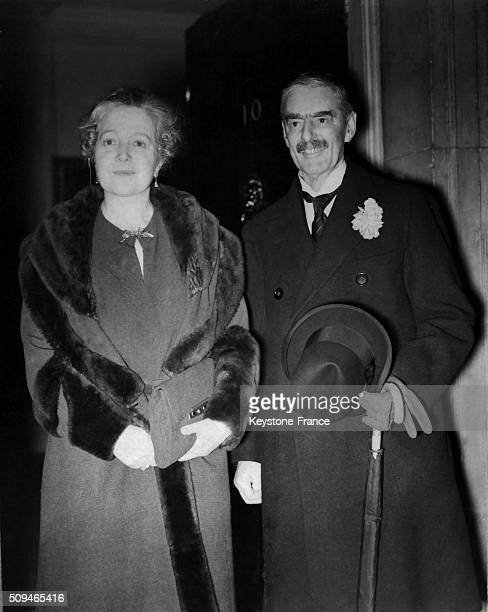 Neville Chamberlain Returned Home At 10 Downing Street With Wife Anne Chamberlain Back From His Visit In Rome in London United Kingdom on January 15...