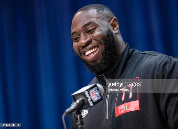 Neville Gallimore #DL11 of the Oklahoma Sooners speaks to the media at the Indiana Convention Center on February 27 2020 in Indianapolis Indiana
