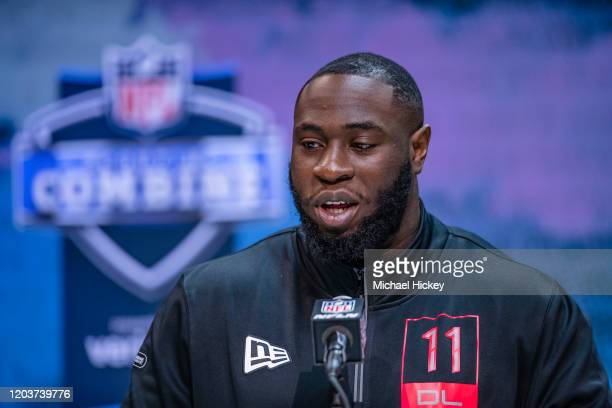 Neville Gallimore #DL11 of the Oklahoma Sooners speaks to the media on day three of the NFL Combine at Lucas Oil Stadium on February 27 2020 in...