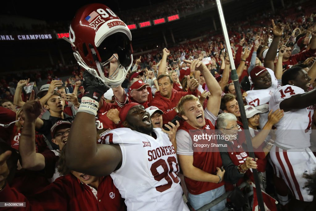 Neville Gallimore #90 of the Oklahoma Sooners celebrates with fans after defeating the Ohio State Buckeyes 31-16 at Ohio Stadium on September 9, 2017 in Columbus, Ohio.