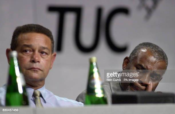 Neville Lawrence father of murdered teenager Stephen Lawrence appears moved as he listens to a speech by Transport and General Workers Union General...