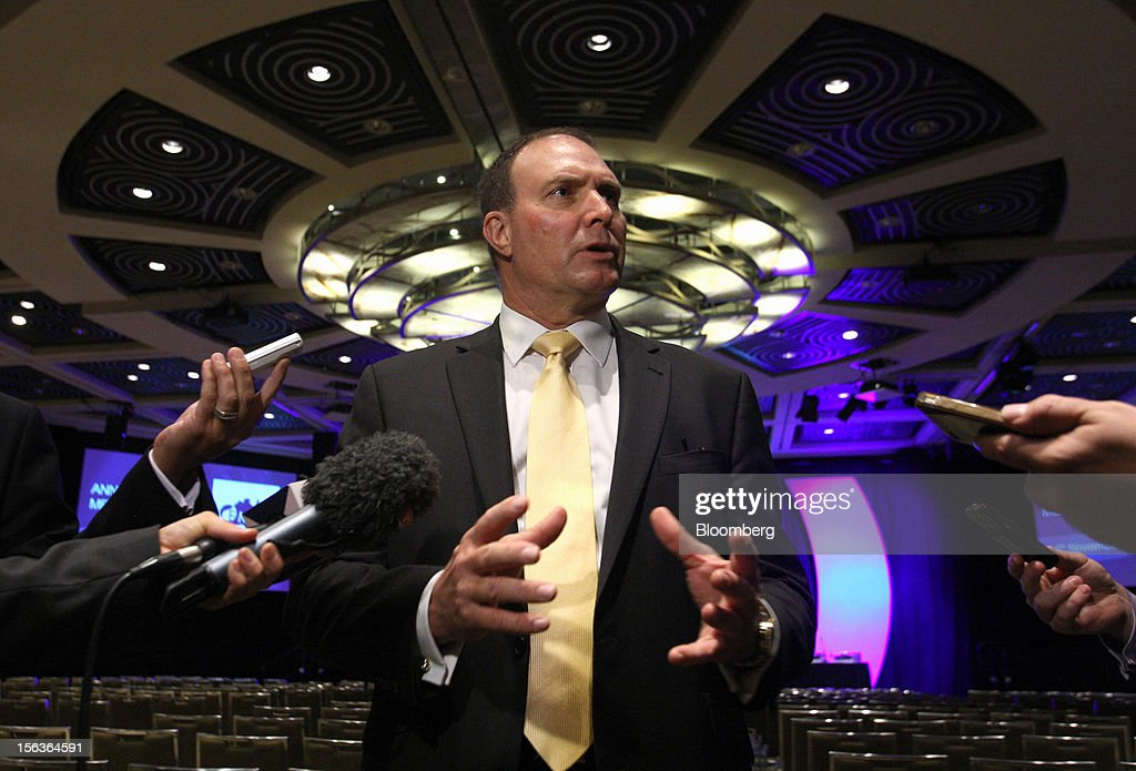 Neville 'Nev' Power, chief executive officer of Fortescue Metals Group Ltd., speaks to the media at the company's annual general meeting in Perth, Australia, on Wednesday, Nov. 14, 2012. Andrew Forrest, founder of Fortescue Metals, last month defeated a regulator's claim that he misled shareholders of the iron-ore exporter which made him Australia's fourth-richest person. Photographer: Sergio Dionisio/Bloomberg via Getty Images