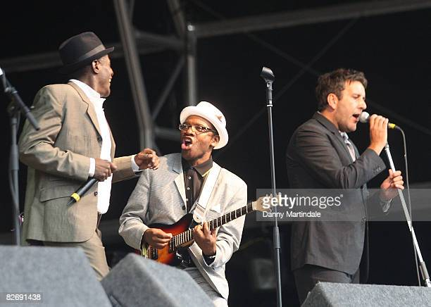 Neville Staple Lynval Golding and Terry Hall of The Specials perform during day two of Bestival at Robin Hill Country Park on September 6 2008 in...