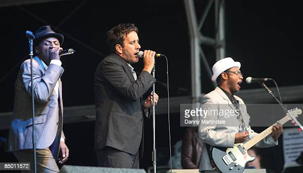 Neville Staple Terry Hall and Lynval Golding of The Specials perform during day two of Bestival at Robin Hill Country Park on September 6 2008 in...