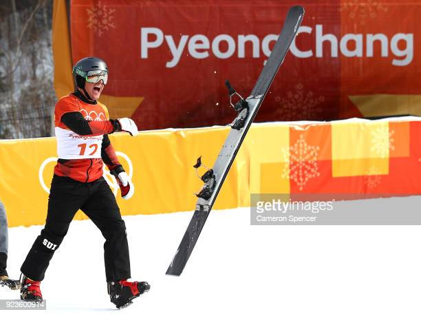 Nevin Galmarini of Switzerland celebrates winning gold in the Men's Snowboard Parallel Giant Slalom Big Final on day fifteen of the PyeongChang 2018...