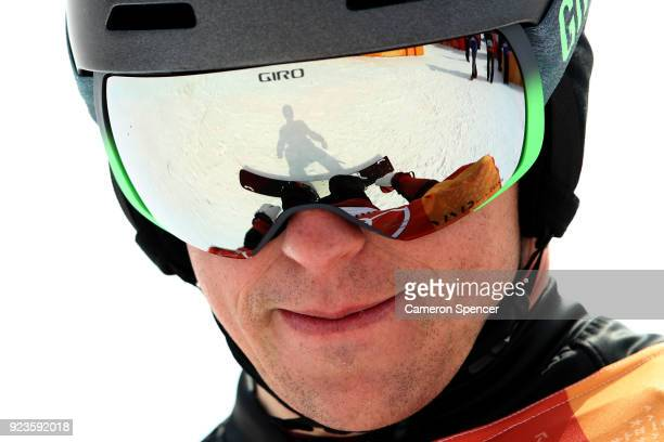 Nevin Galmarini of Switzerland looks on during the Men's Snowboard Parallel Giant Slalom Quarterfinal on day fifteen of the PyeongChang 2018 Winter...