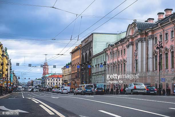 nevsky prospect, main street of saint petersburg, russia - st. petersburg russia stock pictures, royalty-free photos & images