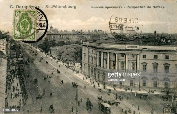 Nevsky Prospekt St Petersburg Russia C 1909 Main street of St Petersburg