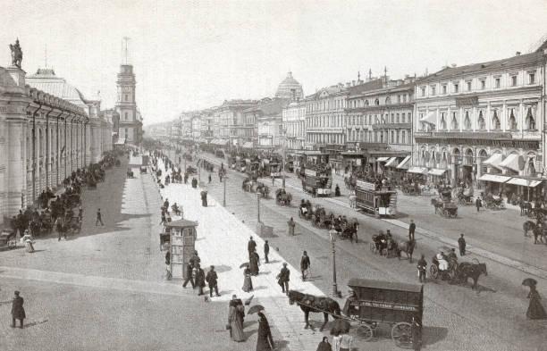 Nevsky Prospekt, the main street in St Petersburg,...
