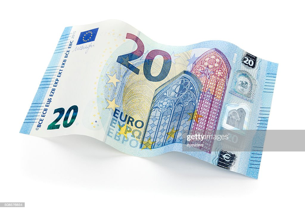 New 20 Euro bill isolated with clipping path : Bildbanksbilder
