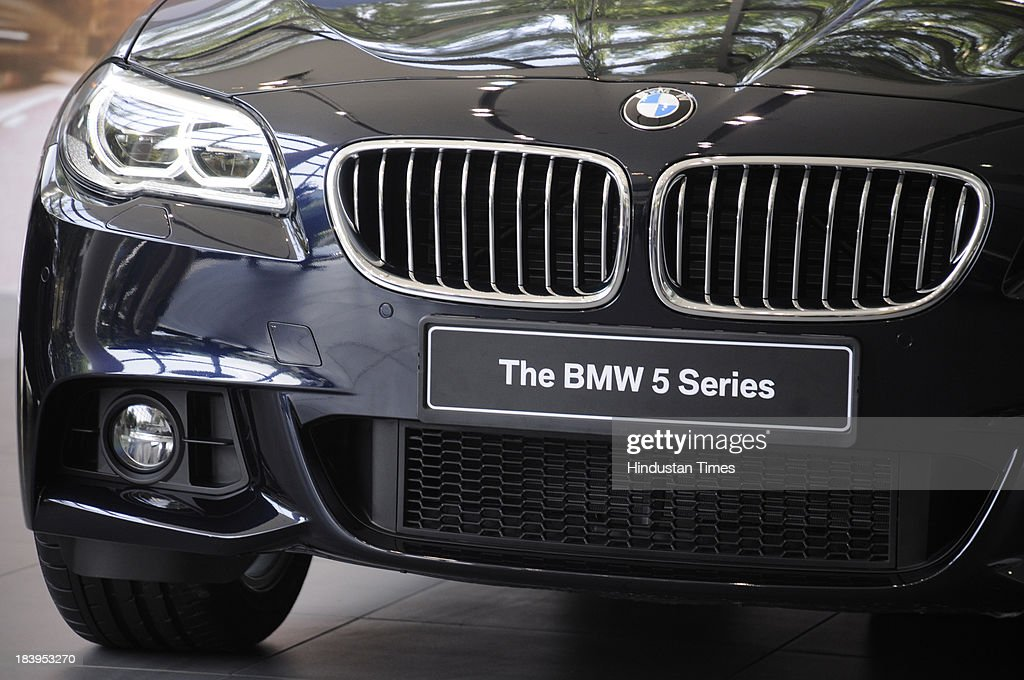 New 2014 BMW 5 Series facelift during its launch at sector-14 BMW Showroom on October 10, 2013 in Gurgaon, India. The new BMW 5 Series facelift has been launched with three diesel engine options and comes in three trim levels. Its starting price is INR 46.90 lakhs.
