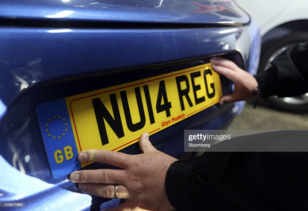 New 2014 U.K. Car Registration Plates Prepared For First Customer Deliveries : News Photo