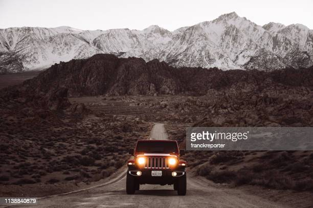new 2019 jeep wrangler at the alabama hills - jeep stock pictures, royalty-free photos & images