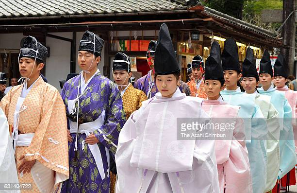 New 20yearold people wearing ancient costumes attend the 'GenpukuShiki' traditional ComingofAge ceremony at Iimori Jinja Shrine on January 9 2017 in...