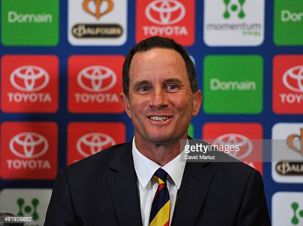 New Adelaide FC senior coach Don Pyke speaks to the media during an Adelaide Crows AFL press conference at AAMI Stadium on October 9 2015 in Adelaide...