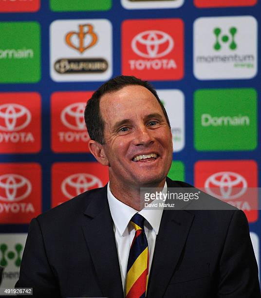New Adelaide senior coach Don Pyke speaks to the media during an Adelaide Crows AFL press conference at AAMI Stadium on October 9 2015 in Adelaide...
