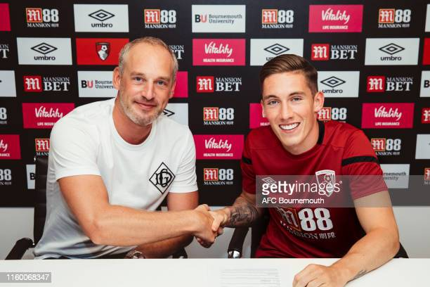New AFC Bournemouth signing Harry Wilson is unveiled alongside AFC Bournemouth CEO Neill Blake at Vitality Stadium on August 6 2019 in Bournemouth...