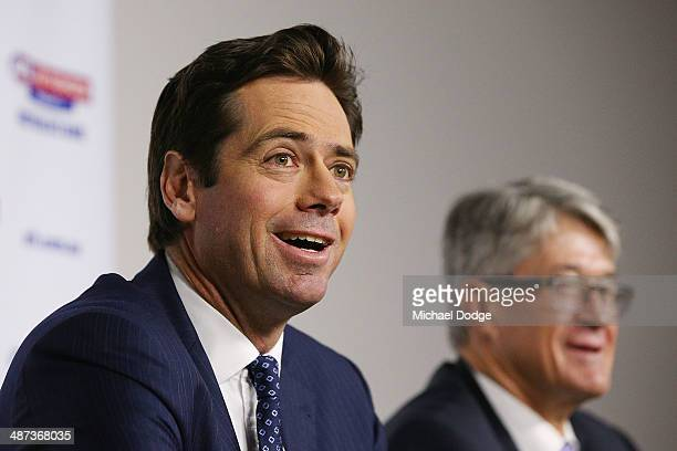 New AFL CEO Gillon McLachlan and Commission Chairman Mike Fitzpatrick react to the media during an AFL press conference at AFL House on April 30,...