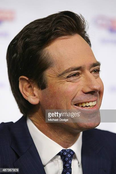 New AFL CEO Gillon McLachlan reacts to the media during an AFL press conference at AFL House on April 30, 2014 in Melbourne, Australia.