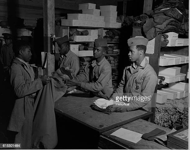 New African American recruits of the 51st composite Battalion, US Marine Corps, getting equipment. Camp Lejeune, New River, North Carolina, March...