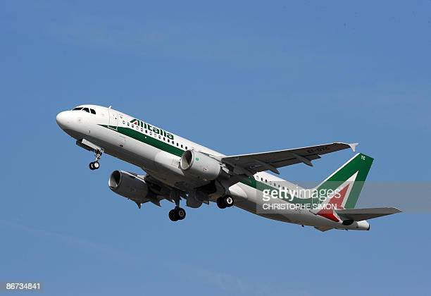 A new Airbus A320 of Alitalia leaves with Pope Benedict XVI to Jordan on May 8 2009 at Fiumicino airport near Rome Pope Benedict XVI started a...