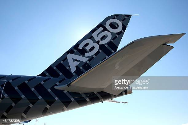 A new Airbus A350X WB passenger plane stands on the tarmac at Munich Airport during a presentation of the new plane by Airbus officials on February...