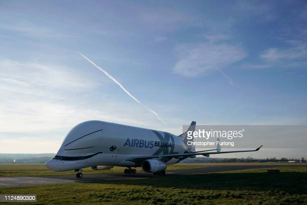 A new Airbus Beluga XL which is making its maiden flight to the UK lands at Airbus Broughton wing assembly plant on February 14 2019 in Broughton...