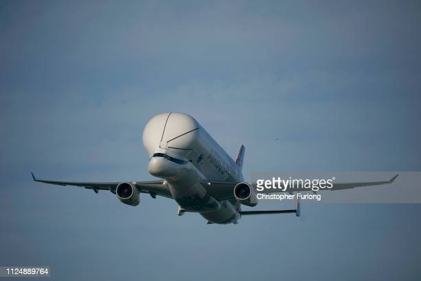 A new Airbus Beluga XL which is making its maiden flight to the UK comes in to land at Airbus Broughton wing assembly plant on February 14 2019 in...