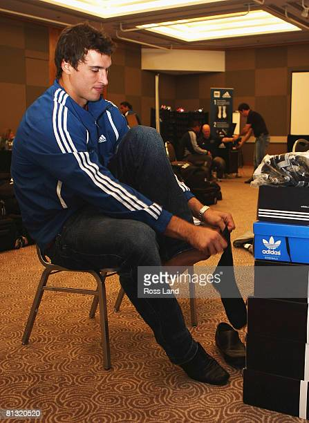New All Black Anthony Boric during outfitting for the Iveco and TriNations test series at the team hotel on June 1 2008 in Wellington New Zealand The...