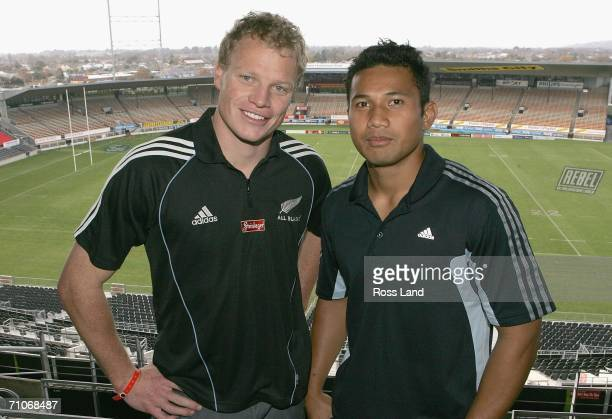 New All Black Scott Hamilton poses with Crusaders team mate Casey Laulala after the naming of the squads to play Ireland and Argentina at Jade...